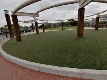 【2021.4/1リニューアル】堺市西区・家原大池公園の芝生広場と木床デッキの工事が完了☆広くて気持ちいい芝生広場になったよ!: